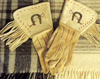 FREE SHIPPING - The Real Deal, Vintage Pair of Beadwork, Old West, Fringed Gauntlet Gloves, Hand Beaded Design, Men's Size Medium to Large