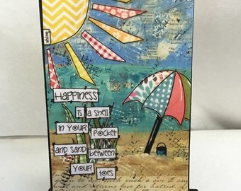 FIVE YEAR SALE Beach Print - Beach - Happiness is sand between toes - Mounted Print - Print and Easel Set