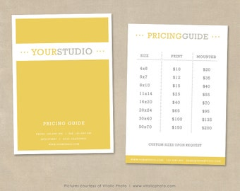Photography Pricing Guide Template, Price List Photoshop Template, Photography Pricing, Price Templates, Price Guide, Photo Price Sheet