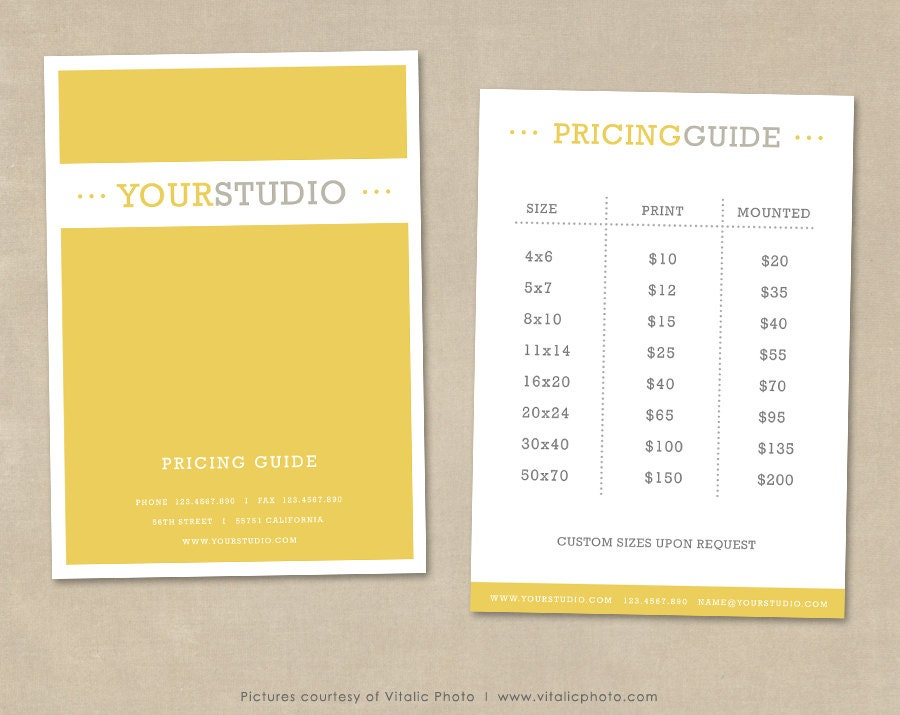 photography price list template - Yelom.myphonecompany.co