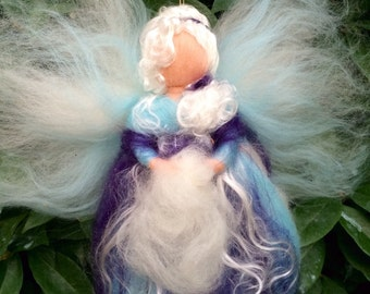 Winter Fairy in carded and fairy wool. Waldorf