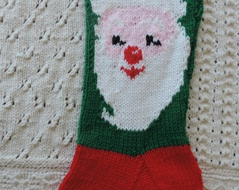 Santa Christmas Stocking, Hand Knitted, Personalized with Name