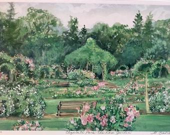 "Elizabeth Park, the Rose garden, Wall art West Hartford, beloved New England scene 11""x14"" matted print, gift sizedand priced"