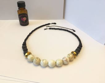 Diffuser Necklace; Statement Aromatherapy jewelry; Black Lava Beads, White Howlite Gemstones; Black Chain removable extender; EO scent Xtra
