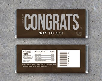 CONGRATS Candy Bar Wrappers – Printable Instant Download - DIY Hershey Bar Congratulations Gift Idea - Good Job on Your Success Party Favors