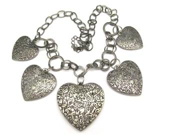 Vintage Heart Necklace Boho Bohemian Bold Heart Charms Antiqued Silvertone