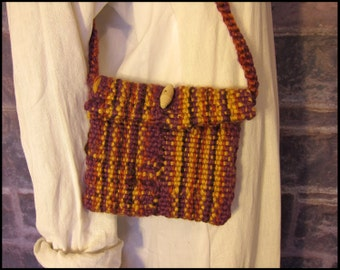 Small Handwoven Purse with Wood Button