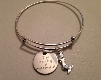 Mermaid Bracelet Tiny Charm I'm Really A Mermaid Inspirational Message Quote SILVER