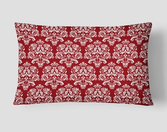 Red Lumbar Pillow, Damask Pillow Case, Red White Cushion, 14x20 Cushion Cover, Cover and Insert, Decorative Pillow, Patterned Cushion