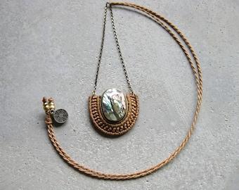 Abalone Necklace Micro Macrame . Modern Textile Fiber Jewelry . Design by .. raïz ..