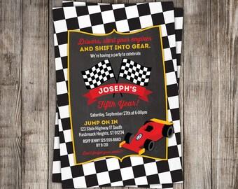 Printable Race Car Invitation -- Speedway, racecar Birthday Party Invitation