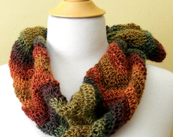 Crocheted Multicolored Wave Scarf. Striped. Cowl.