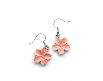 Sakura Earrings, Coral pink enameled cherry blossom Hook Earrings, Japanese earrings / Nickel free hook earrings