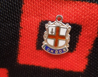 Enamel Sterling London Charm Vintage Enamel London England Travel Shield Silver Charm for Bracelet from Charmhuntress 04818