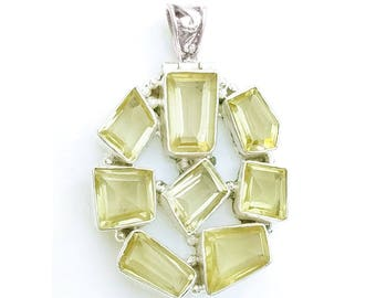 Lemon Quartz Sterling Silver Pendant