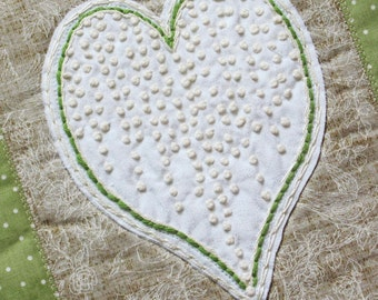 wall hanging with hand embroidered heart, hand embroiderey, green, brown,white wall decor, heart decoration
