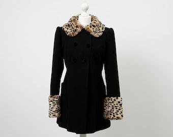 Vintage black coat, Leopard print trim coat, black coat, Leopard print trim coat, Faux fur collar coat, Fake fur leopard print, retro coat