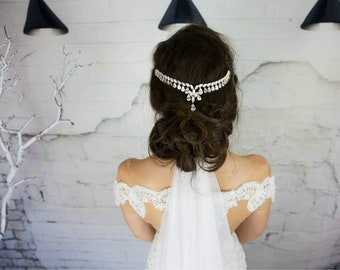 Bridal hair comb, silver hair piece, hair chain hair accessories, head chain, bridal headpiece, bride hair jewelry, Swarovski hair comb