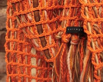 Knit cotton scarf, Orange scarf, Large cotton scarf, Crochet knited, Orange summer scarf, Crochet scarf, Orange knit scarf, Christmas gift