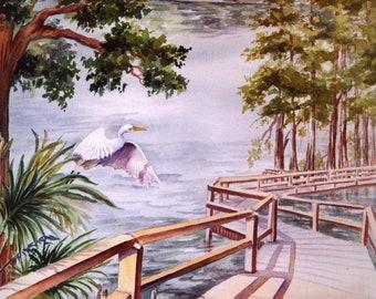 ACEO Card watercolor print, Riverwalk 676 Florida nature park  2.5 x 3.5 watercolorsNmore