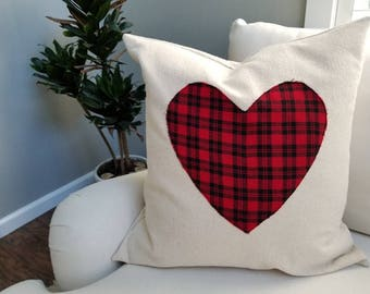 Cozy Heart and Canvas Pillow Cover