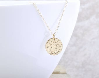 Textured Circle Necklace - Gold Pendant Necklace - Gold Disc Necklace - Everyday Jewelry - Gift For Her - Christmas Gift - Layering Necklace