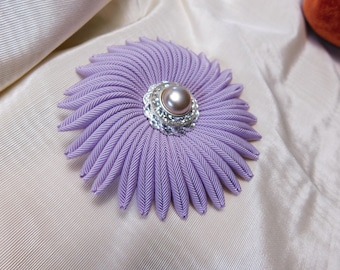 Lavender Cocarde Cockade Grosgrain Ribbon Vintage Button