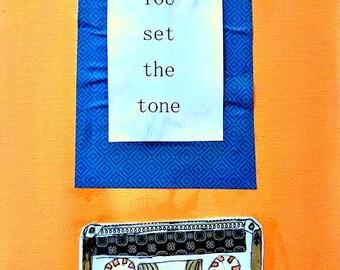 """Cassette ruban 8.5 """"x 11"""" Old School plat toile originale vous rencontrer Inspiration peinture technique mixte pêche Hipster navire gratuit"""