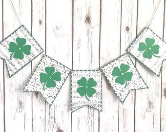 St Patrick's Day Banner / Four Leaf Clover Sign / Music Notes / Leprechaun / Green / St Patty's Day / Saint Patricks Day