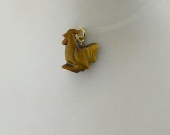 18k Yellow Gold Bail Estate Tiger Eye Rooster Pendant/Charm