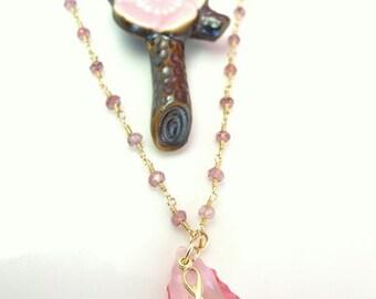 Pink Swarovski pink ribbon breast cancer rosary necklace, Swarovski crystal breast cancer necklace, October breast cancer awareness month