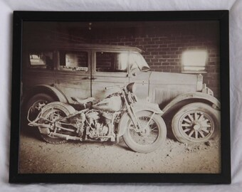 11x14 inch framed print of a Harley Flathead and old Willys barn finds