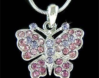 Swarovski Crystal Lilac Purple BUTTERFLY Bridal Wedding Charm Pendant Chain Necklace Jewelry Best Friend Mother's Day New Christmas Gift