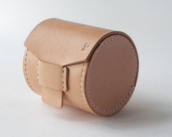Leather lens case - Hand stitched genuine Italian veg tan Leather -An Original Design