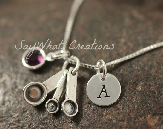 Sterling Silver Mini Initial Hand Stamped Measuring Cups Spoons Necklace for Baker or Chef