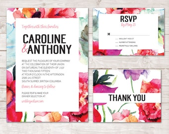 Watercolor Floral Wedding Invitation, Bright Floral wedding invitation, Watercolor Wedding Invite, Modern Printable Wedding invitation set