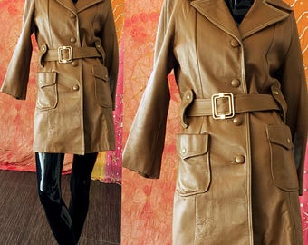 Mod Leather Jacket 70s Leather Belted Biker Jacket