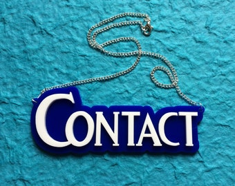 Contact pendant on silver chain necklace