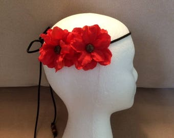 Boho, Western, Festival, Hippie Suede Leather Flower Headband