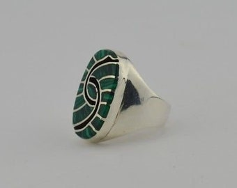 Sterling Silver Estate Large Malachite & Onyx Native American Style Ring Size 10