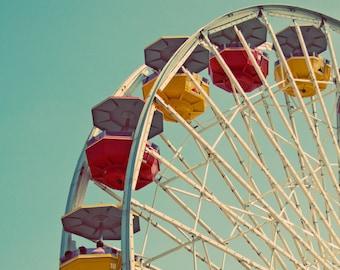 Retro Ferris Wheel Wall Art Carnival Decor, Ferris Wheel Photograph, Fine Art Photograph, Los Angeles Beach Decor - Summer Fun