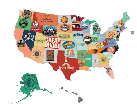 Beer Map USA Print Husband Gift Beer Art Gift for Him US
