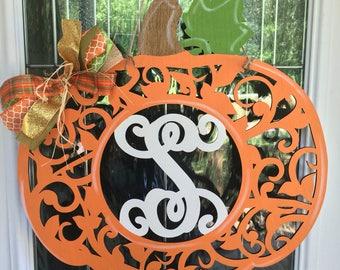 Monogram pumpkin door hanger, monogram door hanger, fall door hanger, fall decor, pumpkin door hanger, fall, halloween