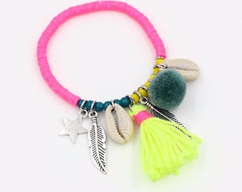 Boho Mood bracelet / / / pink polymer clay beads / cowry shells / neon yellow tassel / silver charms and tassel