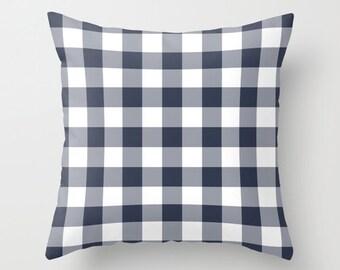 Large Gingham Pillow Cover, nautical navy blue pillow, beach decor, country picnic decor, c pillow,  pillow