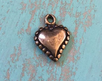 Heart Charm-Pendant, Artisan Bronze, Valentine Dotted Heart