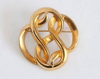 Vintage P.E.P. Brooch - Swirled Looping Knot PEP Brooch organic lines