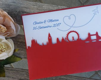 Wedding participations London theme, carved Skyline