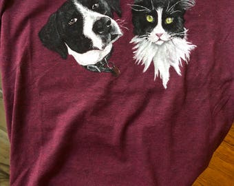 2 Pet Portraits on Shirt
