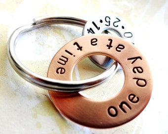 One Day At A Time Sobriety Gift - Hand Stamped Copper Washer and hardware washer Keychain